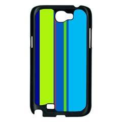 Blue and green lines Samsung Galaxy Note 2 Case (Black)