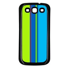 Blue and green lines Samsung Galaxy S3 Back Case (Black)