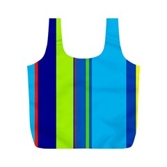 Blue and green lines Full Print Recycle Bags (M)