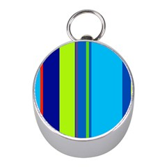 Blue and green lines Mini Silver Compasses