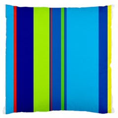 Blue and green lines Large Flano Cushion Case (One Side)