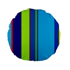 Blue And Green Lines Standard 15  Premium Flano Round Cushions