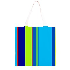 Blue and green lines Grocery Light Tote Bag