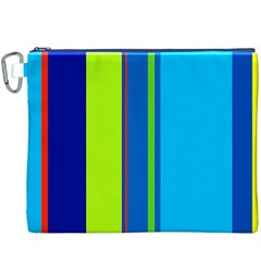 Blue and green lines Canvas Cosmetic Bag (XXXL)