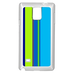 Blue and green lines Samsung Galaxy Note 4 Case (White)