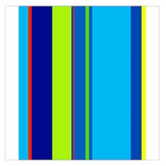 Blue and green lines Large Satin Scarf (Square)