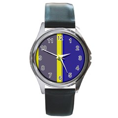 Blue and yellow lines Round Metal Watch