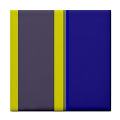 Blue and yellow lines Tile Coasters