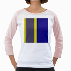 Blue and yellow lines Girly Raglans