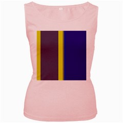 Blue and yellow lines Women s Pink Tank Top
