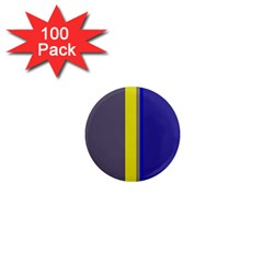 Blue and yellow lines 1  Mini Magnets (100 pack)