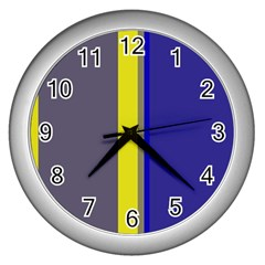 Blue and yellow lines Wall Clocks (Silver)