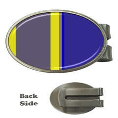 Blue and yellow lines Money Clips (Oval)