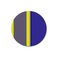 Blue and yellow lines Magnet 3  (Round)