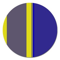 Blue and yellow lines Magnet 5  (Round)