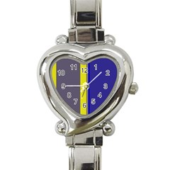 Blue and yellow lines Heart Italian Charm Watch