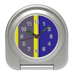 Blue and yellow lines Travel Alarm Clocks