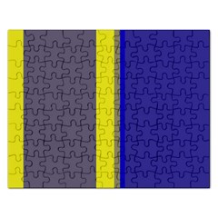 Blue and yellow lines Rectangular Jigsaw Puzzl