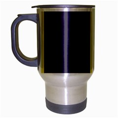 Blue and yellow lines Travel Mug (Silver Gray)