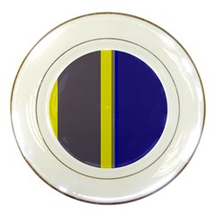 Blue and yellow lines Porcelain Plates