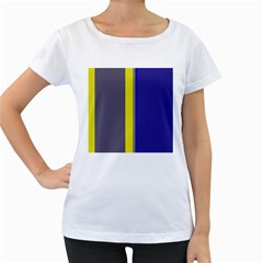 Blue and yellow lines Women s Loose-Fit T-Shirt (White)