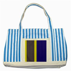 Blue and yellow lines Striped Blue Tote Bag