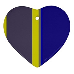 Blue and yellow lines Heart Ornament (2 Sides)