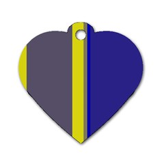 Blue and yellow lines Dog Tag Heart (Two Sides)