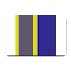 Blue and yellow lines Small Doormat