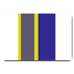 Blue and yellow lines Large Doormat