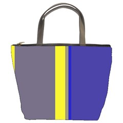 Blue and yellow lines Bucket Bags