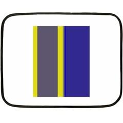 Blue and yellow lines Fleece Blanket (Mini)