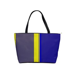 Blue and yellow lines Shoulder Handbags