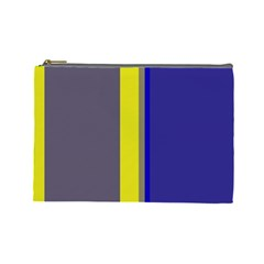 Blue and yellow lines Cosmetic Bag (Large)