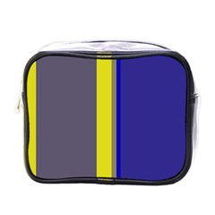 Blue and yellow lines Mini Toiletries Bags