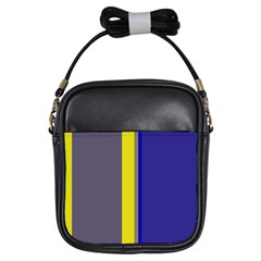 Blue and yellow lines Girls Sling Bags