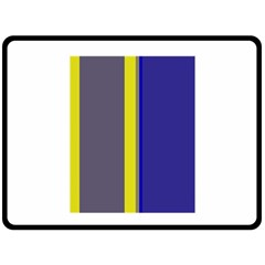 Blue and yellow lines Fleece Blanket (Large)