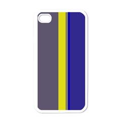 Blue and yellow lines Apple iPhone 4 Case (White)