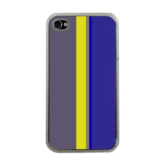 Blue and yellow lines Apple iPhone 4 Case (Clear)