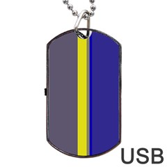 Blue and yellow lines Dog Tag USB Flash (Two Sides)