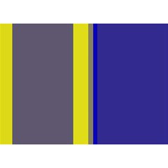 Blue and yellow lines Birthday Cake 3D Greeting Card (7x5)