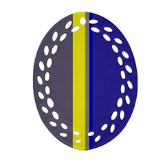 Blue and yellow lines Oval Filigree Ornament (2-Side)