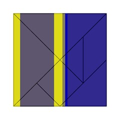 Blue and yellow lines Acrylic Tangram Puzzle (6  x 6 )