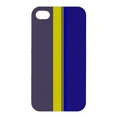Blue and yellow lines Apple iPhone 4/4S Premium Hardshell Case
