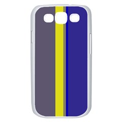 Blue and yellow lines Samsung Galaxy S III Case (White)