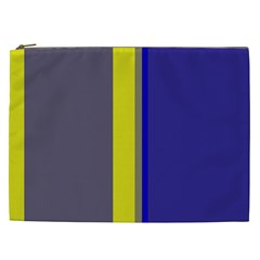 Blue and yellow lines Cosmetic Bag (XXL)