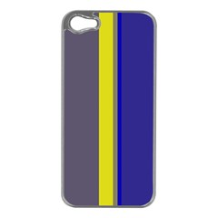 Blue and yellow lines Apple iPhone 5 Case (Silver)