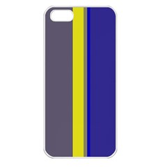 Blue and yellow lines Apple iPhone 5 Seamless Case (White)