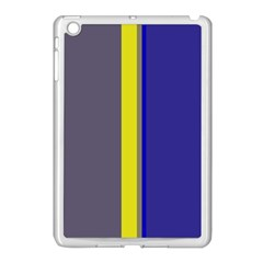 Blue and yellow lines Apple iPad Mini Case (White)