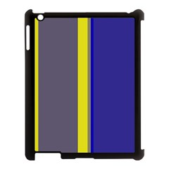 Blue and yellow lines Apple iPad 3/4 Case (Black)